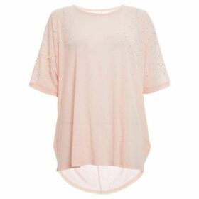 Quiz Pink Embellished Batwing Top