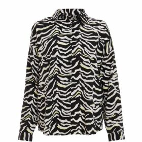 Quiz Black White And Lime Zebra Print Shirt