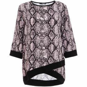 Quiz Pink And Black Snake Print Contrast Top