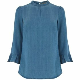Oasis Flute Sleeve Denim Top