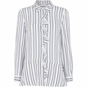 Whistles Stripe Frill Front Shirt