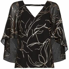 Coast Indie Metallic Print Cape Top