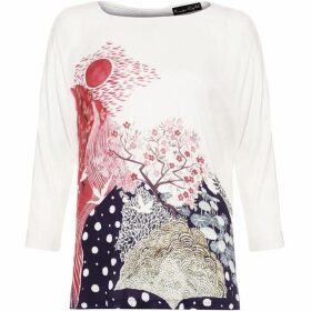 Phase Eight Mariko Placement Print Jersey Top