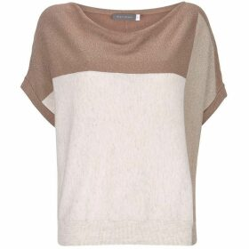 Mint Velvet Brown Blocked Cowl Neck Tee
