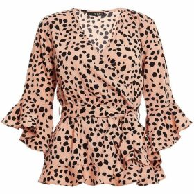 Quiz Pink And Black Dalmatian Print Wrap Top