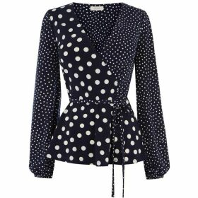 Oasis Patched Spot Wrap Top