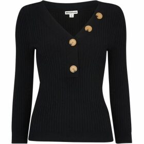 Whistles Button Detail Ribbed Sweater