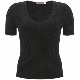 Mint Velvet Black Ribbed V-Neck Tee