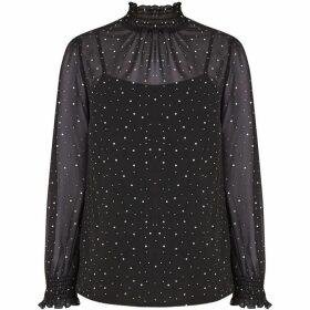 Oasis Studded Sheared Neck Top