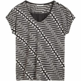 Sandwich V Neck Stripe Jacquard Top