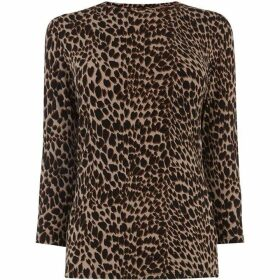 Warehouse Leopard Print Crew Neck Top