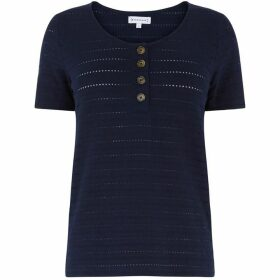 Warehouse Textured Button T-Shirt