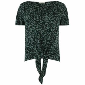 Oasis Animal Button Tie Front Top