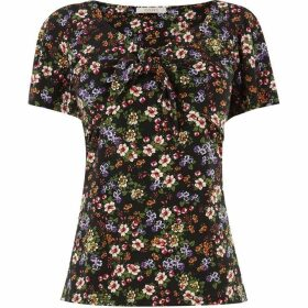 Oasis Crushed Ditsy Tie Front Top