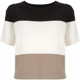 Mint Velvet Black & Neutral Cropped Tee