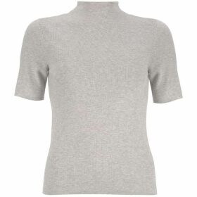 Mint Velvet Neutral Funnel Neck Fitted Tee