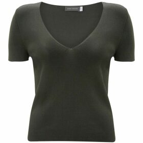 Mint Velvet Khaki Fitted V-Neck Tee