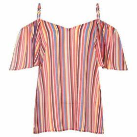 Yumi Stripe Print Cold Shoulder Top