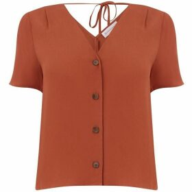 Warehouse V Neck Button Front Top