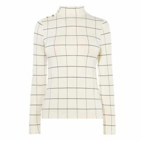 Karen Millen Tied-Hem Check Top