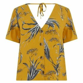 Warehouse Leaf Print Button Front Top