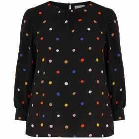 Warehouse Multi Spot Blouson Sleeve Top