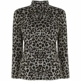 Warehouse Leopard Jacquard Polo Neck Top