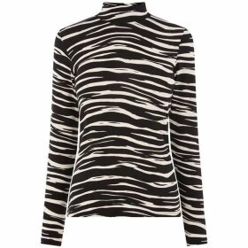 Warehouse Tiger Print Polo Top