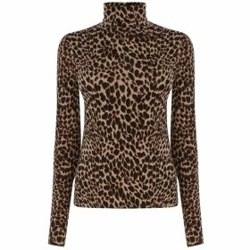 Warehouse Leopard Print Polo Neck Top