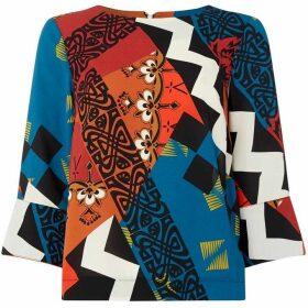 Biba Contrast cuff printed shell top
