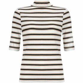 Mint Velvet Ivory Striped Short Sleeve Top