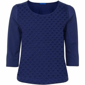 Winser London three quarter Sleeve Broderie Anglaise Top