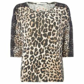 Oui Leopard print lace detail tee