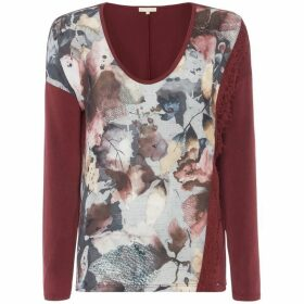 Salsa Long Sleeve VNcek Floral Print Jersey Back Tshirt