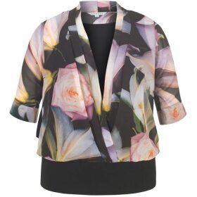 Chesca Printed Chiffon Top with Jersey Trim