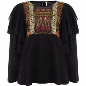 Free People La Cienga Frilled Top With Emroidery