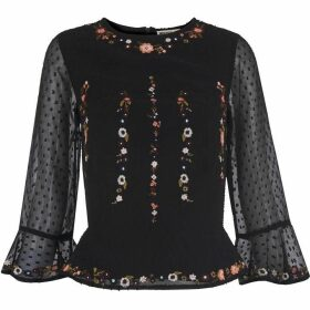Whistles Multi Flower Embroidered Top