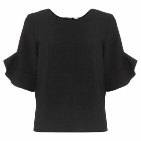 Suncoo Lia three quarter Frill Sleeve Boat Neck Top
