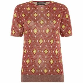 Maison Scotch High neck knit ikat pattern top