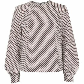 Whistles Stripe Bell Cuff Poplin Top