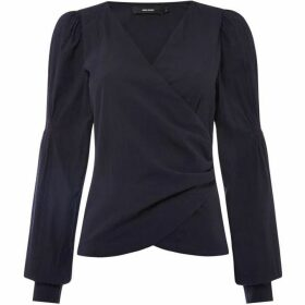 Vero Moda Long Rouched Sleeve Silja Wrap Top