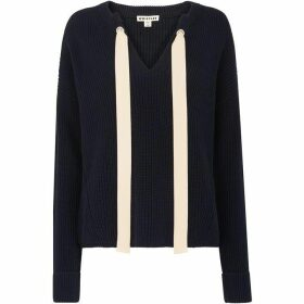 Whistles Tie Neck Eyelet Sweater