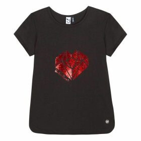 3 Pommes Kid Girl Black Tee-Shirt