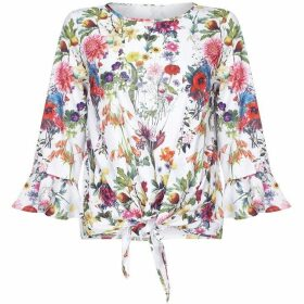 Yumi Curves Floral Blouse With Tie Knot Detail