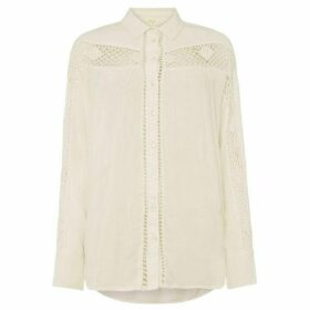 Free People Woven Crochet Detail Button Up Blouse