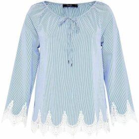 Hallhuber Striped Raglan Blouse With Lace Hem