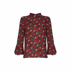 Yumi Curves Botanical Flared Sleeve Blouse