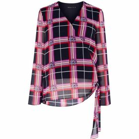 Karen Millen Oversized-Check Wrap Blouse