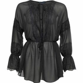 French Connection Abella Lace Mix Tie Sleeve Blouse