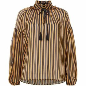 Biba Yellow lurex stripe blouse